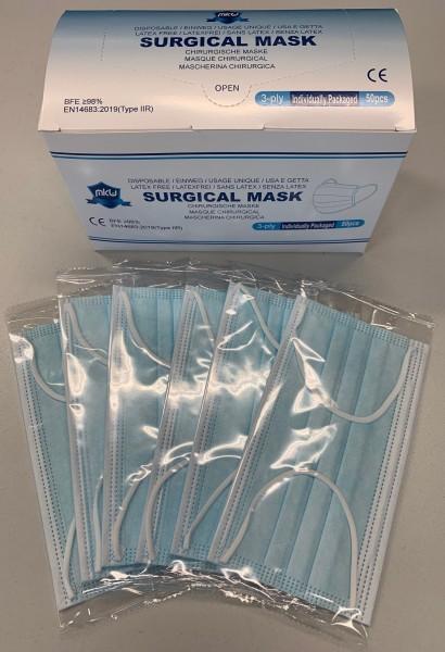 Atemschutzmasken MKW (einzeln verpackt) Typ IIR à 50 Stk. blau