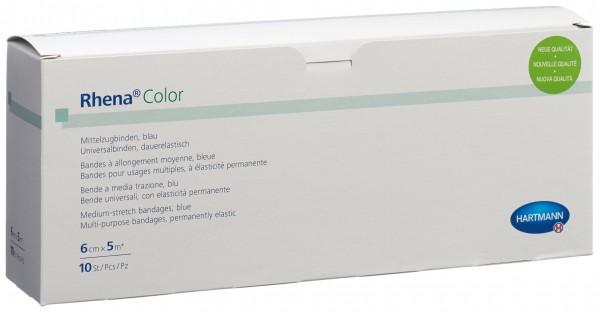 RHENA Color Elastische Binden 6cmx5m bl off 10 Stk