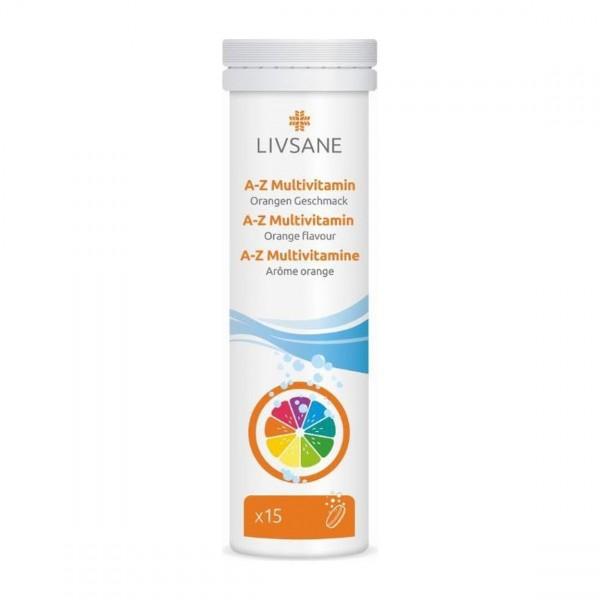 LIVSANE A–Z Multivitamin Brausetabl Orange 15 Stk