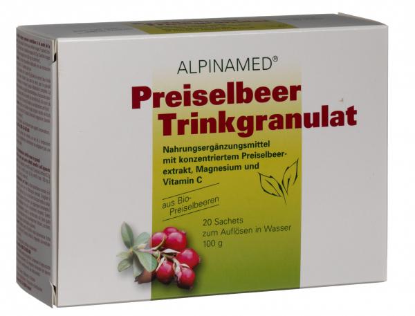 ALPINAMED Preiselbeer Trinkgranulat 20 Sachets zum Auflösen in Wasser 100 g