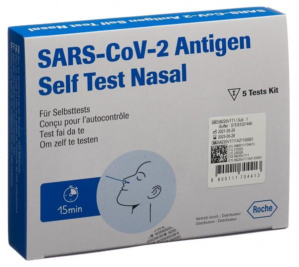 ROCHE SARS CoV-2 AG PST Test Nasal 5 Stk